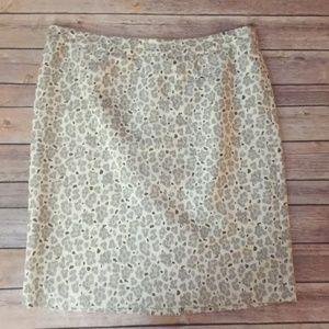 Cream Ann Taylor Loft Silk Pencil Skirt